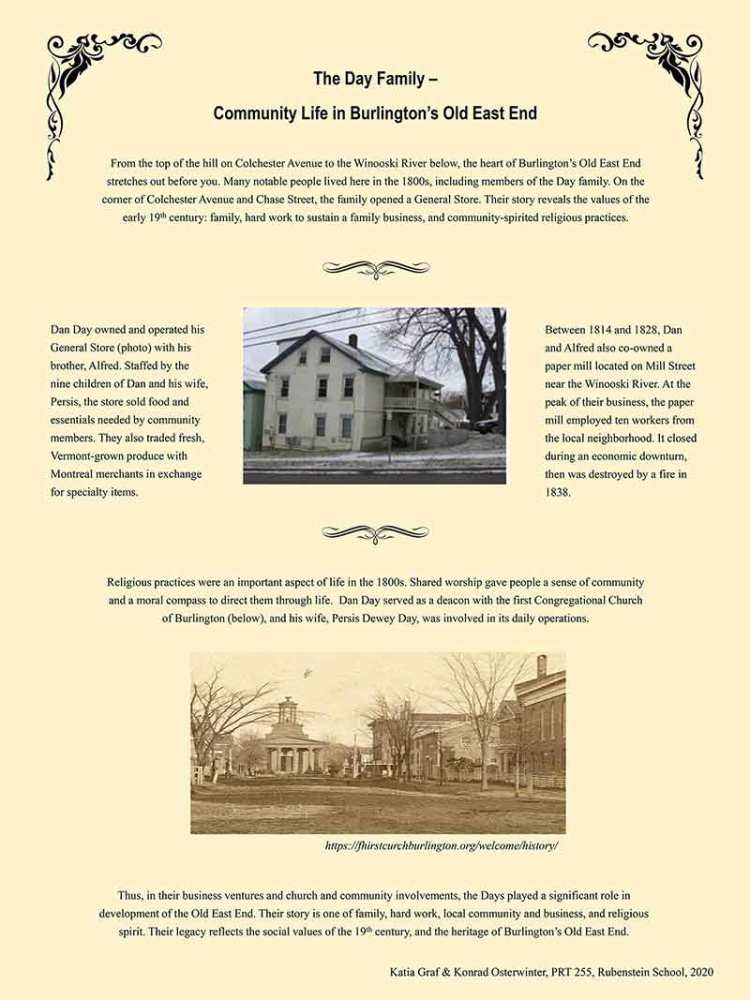 Community Life in Burlington's Old East End, a Day family history poster