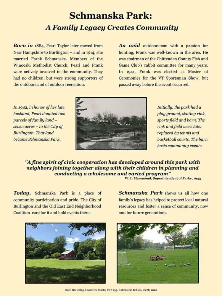 A Family Legacy Creates Community, a Schmanska Park history poster