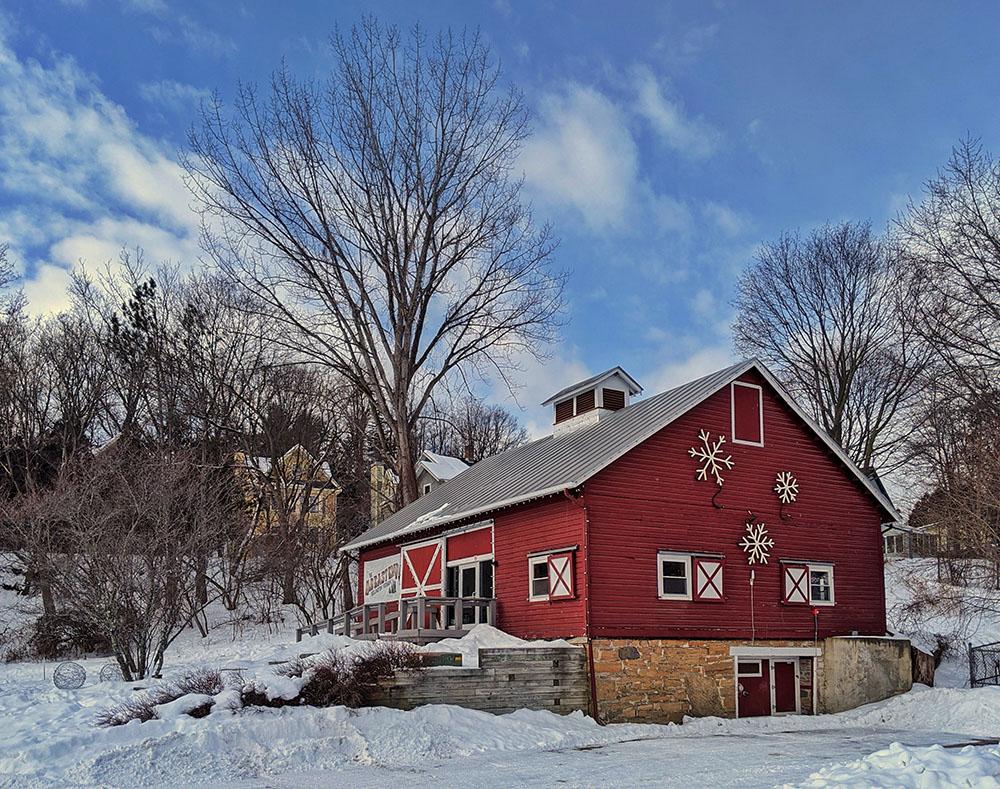 Schmanska Barn decorated with snowflakes