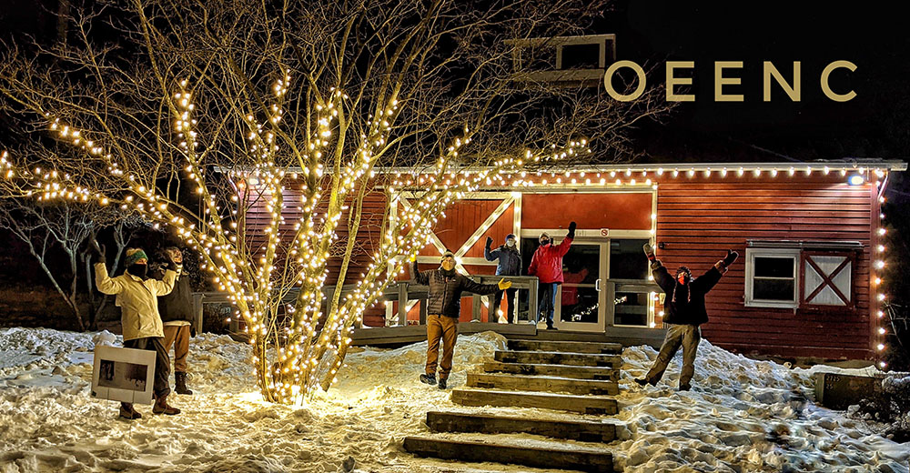 Schmanska Barn lit with warm lights by the OEENC
