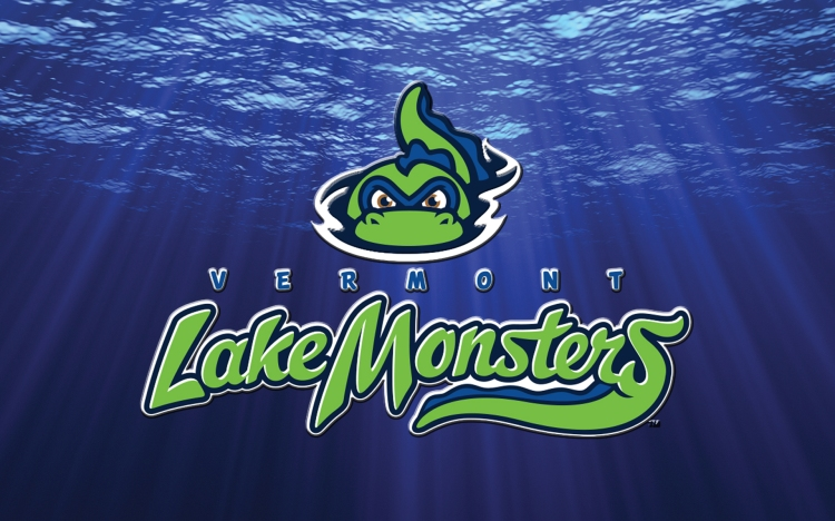Baseball team logo with cartoon lake monster