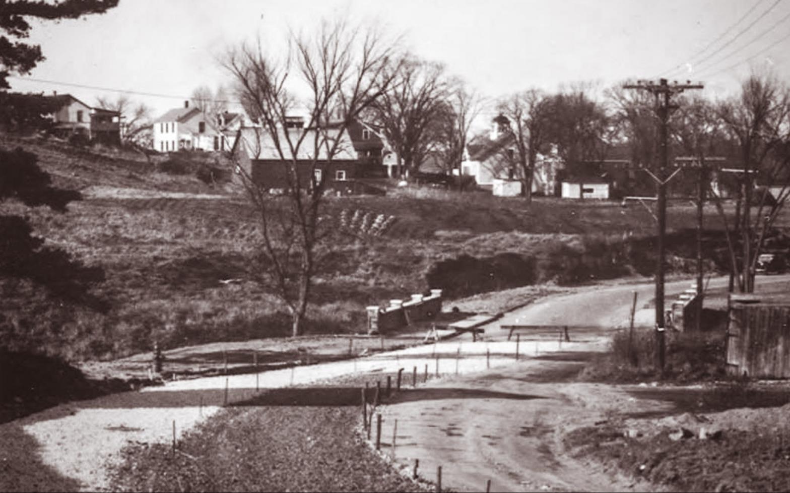 1930s Sepia photograph of Schmanska Barn from Grove Street
