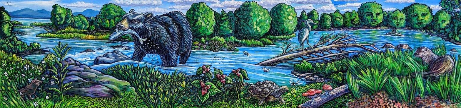 The River Dwellers mural by T Ariel Goreau