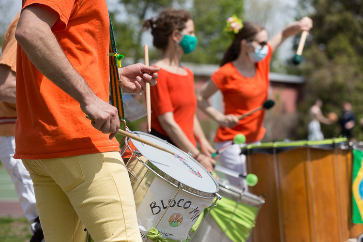Drummers play outside