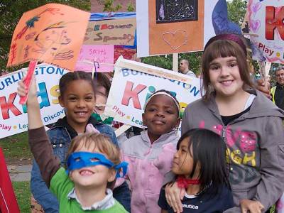 A diverse group of kid's enjoy an event in Burlington Vermont